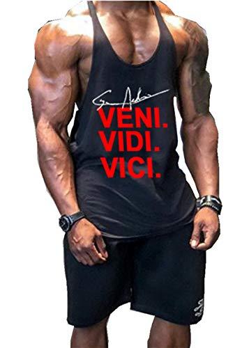 Befox - Camiseta interior de tirantes para hombre, material elástico, de algodón, para el gimnasio y de estilo atlético Negro XL