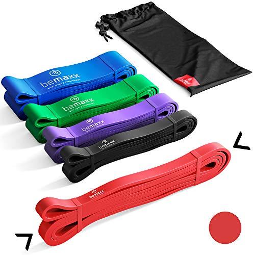BeMaxx Banda Elástica de Resistencia Guía de Entrenamiento | para Pull–Ups, Crossfit, Yoga, Pilates | Banda de Tracción para Fitness y Estiramientos | Duradera, Resistente, Versátil