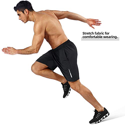 BENNALD Short Deportivo Hombre, Pantalones Cortos Deporte Hombre Pantalón Corto Deportivo Secado Rápido Shorts Core Pants de Tenis Running Fitness Gimnasio Gym Atletismo Verano Negro