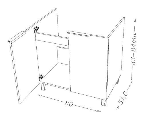 Berlioz Creations–Subwoofer bajo de Cocina Debajo del Fregadero 80, Paneles de partículas, Fraxinus Sablé, 80x 52x 83cm