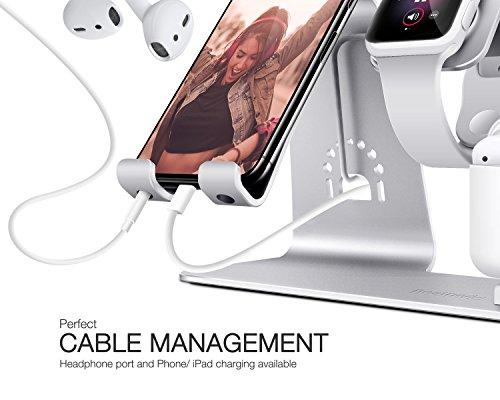 Bestand Soporte [3 en 1] Apple iWatch Estante para, Punto cargador para Airpods, Apple Watch para iPhone 7/6s Plus, iPad en Plata