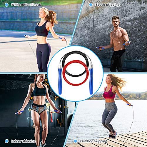 Bestcool Cuerda Saltar, Comba Saltar Longitud Ajustable Comba Boxeo Skipping Rope Comba Crossfit Comba Boxeo con Mango Antideslizante (Azul)