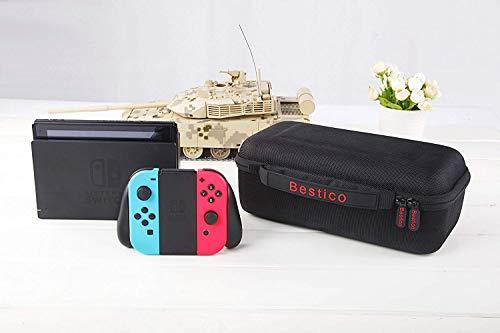 Bestico Funda para Nintendo Switch – Funda de viaje para Nintendo Switch con espacio para guardar 10 cartuchos de juegos para la consola, Adaptador de CA, cable HDMI, mando Joy-Con y correa Joy-Con