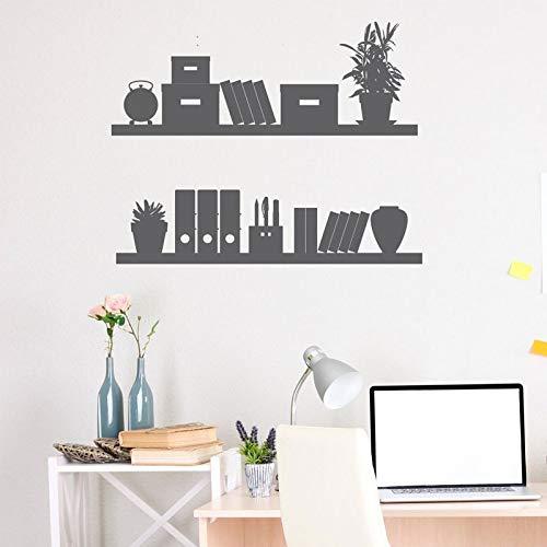 BFMBCH Macetas y estantería patrón apliques vinilo pegatinas de pared sala de estar decoración del hogar niños sala de lectura pegatinas de pared azul 52X42 cm