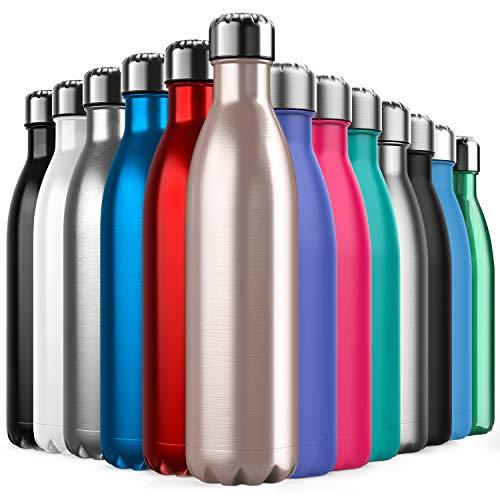 BICASLOVE Botella de Agua de Acero Inoxidable,Diseño de Pared Doble,Boca EstáNdar,para Correr, Gimnasio, Yoga, Ciclismo,750ML,Oro