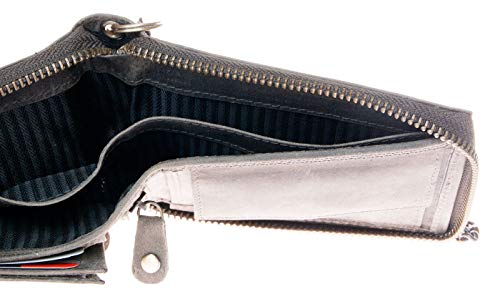 Billetera gris de cuero naturales con el escorpión con cadena de metal