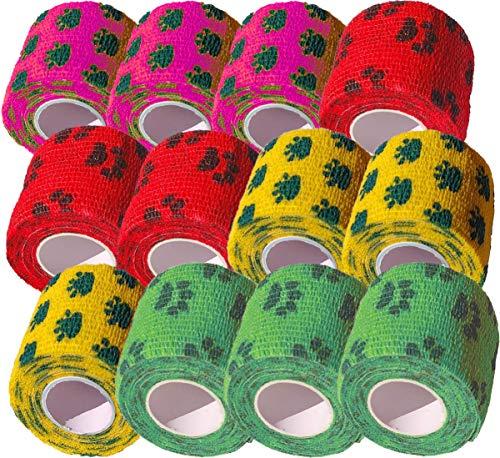 Biluer 12 Rollos Elástico Vendas Autoadherente 5 cm x 4.5 m Vendaje Deportivo Fuerte para Muñeca,Dedos de los Pies Tobillo y Esguinces Distensiones e hinchazón Autoadhesivo de compresión 4 Colores