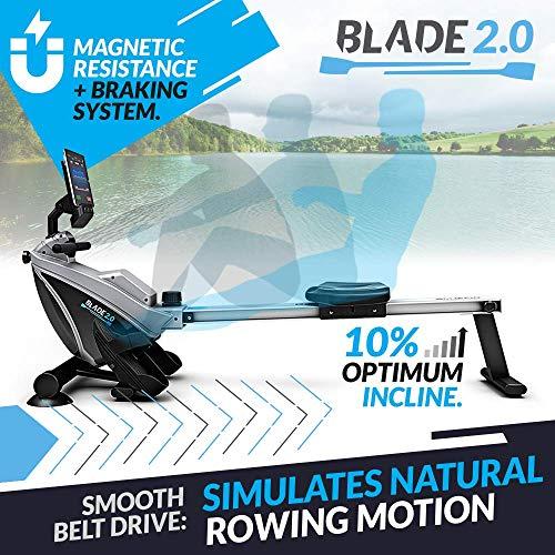 Bluefin Fitness como remar en un Lago sin Salir de casa. La Máquina de Remo Plegable te da 8 Niveles de Resistencia magnética Regulable, transmisión Suave, Pantalla LCD, aplicación para Smartphone.
