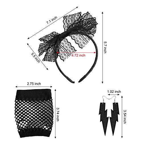 Blulu Set de Accesorios de Vestimenta de los años 80 para Mujer, Legging de Encaje, Guantes de Rejilla, Pulsera de Silicona, Collar con aretes y Disfraces para Fiesta (M)