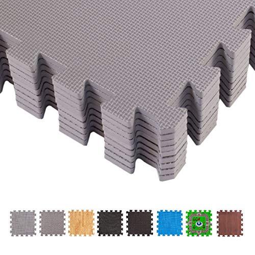 BodenMax CRS804902-3030-18 Tapete colchoneta Protectora de Espuma EVA para Gimnasio Yoga o habitacion de niños 30x30x1 cm 6 Piezas de Color Gris