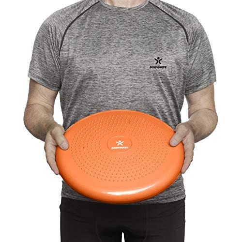 BODYMATE Cojín de Equilibrio con bombín, diámetro 34 cm | Cojín propioceptivo, cojín inestable, cojín Hinchable | Entrenamiento de Tronco, Espalda, Fitness, rehabilitación, coordinación