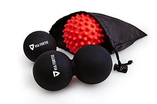 Bola de Masaje Miofascial y Muscular (Juego de 3) de VIA FORTIS | Conjunto de una Pelota Lacrosse Sencilla, de Una Doble y de Otra con Pinchos | Productos para la Espalda, los Hombros, los Pies y Más