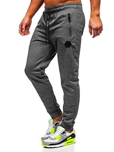 BOLF Hombre Pantalón Deportivo Jogger Fitness Entrenamiento Pantalón de Chándal Estilo Urbano Must JX8203 Grafito XL [6F6]