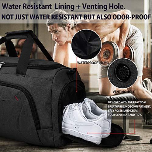 Bolsa de Deporte Hombre Bolsas Gimnasio Mujer con Compartimento para Zapatos Bolsos de Viaje Grande Impermeable Deportivos Fin de Semana Travel Gym Bag 40L Negro