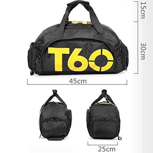Bolsa de deportes unisex de 35 L, de gran capacidad, con compartimento para zapatos, de Obling, color Negro con amarillo., tamaño 45*25*30 CM