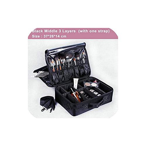 Bolsa organizadora de maquillaje profesional para mujer, bolsa de cosméticos, de gran capacidad, maleta de almacenamiento de múltiples capas, color negro M 3 capas
