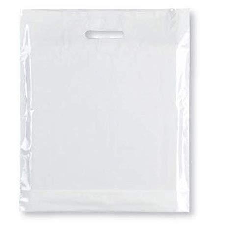 """Bolsas de transporte fuertes: 100 bolsas de plástico de alta calidad – blanco resistente con asa de parche de plástico para moda, fiesta, boutique, compras – Sabco, plástico, blanco, 15 x 18 x 3"""""""