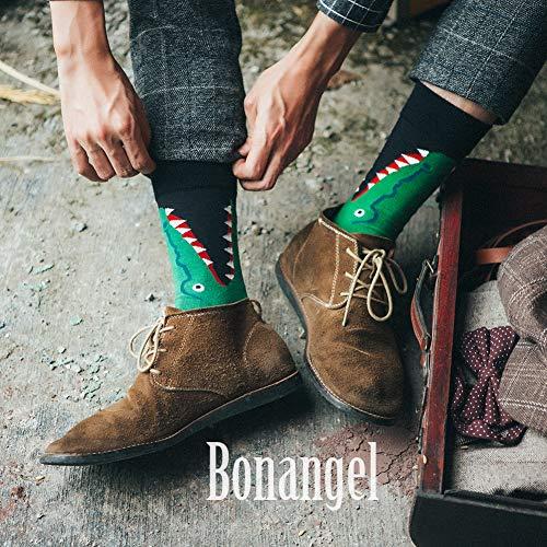 BONANGEL Calcetines Estampados Hombre, Hombres Ocasionales Calcetines Divertidos Impresos de Algodón de Pintura Famosa de Arte Calcetines, Calcetines de Colores de moda (12 Pares-Crocodile)