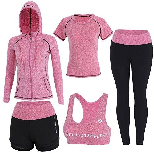 BOTRE 5 Piezas Conjuntos Deportivos para Mujer Chándales Ropa de Correr Yoga Fitness Tenis Suave Transpirable Cómodo (Rosa, XL)