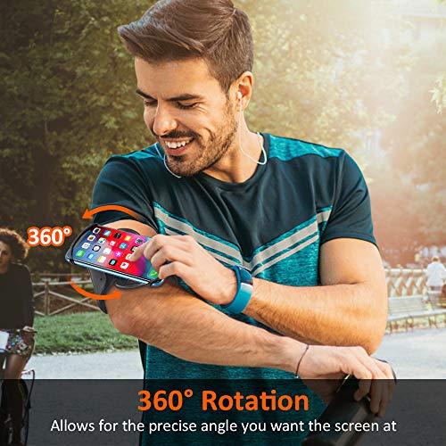 Bovon Brazalete Movil Running, Brazalete Deportivo Movil con Rotación 360°, Porta Movil Ajustable Universal para Gimnasio/Senderismo, Compatible con iPhone 11 Pro MAX/XR/8, Galaxy S10 Plus, Xiaomi
