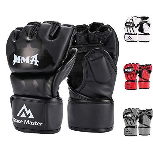 Brace Master MMA Gloves Guantes UFC Guantes de Boxeo para Hombres Mujeres Cuero Más Acolchado Saco de Boxeo sin Dedos Guantes para Kickboxing, Sparring, Muay Thai y Heavy Bag (Negro S)