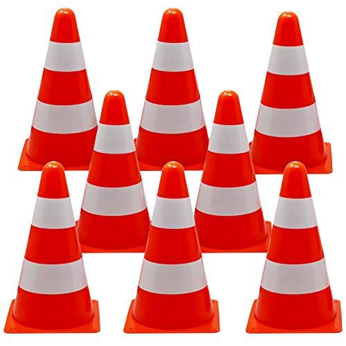 BRAMBLE! 12 Conos de Tráfico de Entrenamiento, 23cm - Naranja y Blanco - Ideal para Ninos, Juegos, Deportivos, Futbol, Senalizacion, Entrenamiento para Perros.