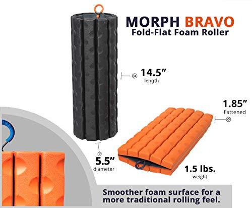 Brazyn Masajeador de Espalda Muscular Plegable y portátil para Masaje de liberación miofascial (Morph Bravo Foam Roller) Puesta del Sol Anaranjada