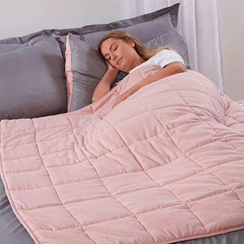 Brentfords Manta con Peso de 6 kg para Adultos y Adolescentes niños Terapia sensorial ansiedad Autismo insomnio Alivio del estrés, Doble rosa-125 x 180 cm