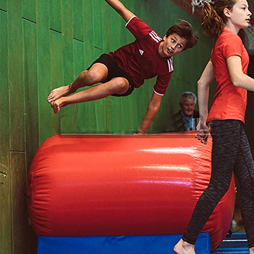 Broccoli Air Track Round Gimnasia Inflable Tumbling Barril de Aire con Bomba de Aire eléctrica para Uso doméstico/Tumble/Gym/Training/Cheerleading,S
