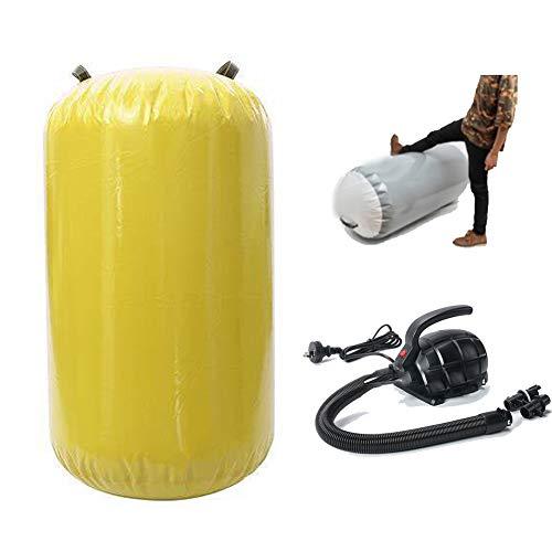 Broccoli Colchoneta Inflable de Gimnasia Inflable de Barril de Aire con Bomba de Aire eléctrica para el hogar/Gimnasio/Oficina, Color Amarillo,S