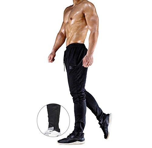 Broki - Pantalones de chándal ajustados con cremallera para hombre, pantalones deportivos informales para correr, ir al gimnasio, pantalones chinos de chándal, color negro Negro Negro ( 27-32