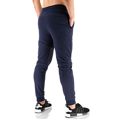 BROKIG Vertex Gym - Pantalones de chándal para hombre, con bolsillos, ideales para correr y trotar Azul azul marino 34-37