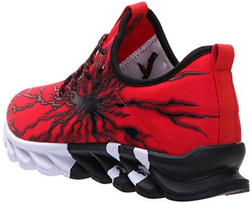 BRONAX Zapatos para Correr en Montaña y Asfalto Aire Libre y Deportes Zapatillas de Running Padel para Hombre Negro Rojo 39