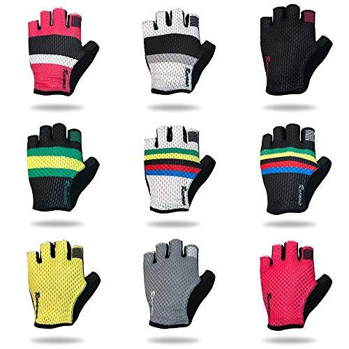 Bruce Dillon Guantes de Ciclismo de Medio Dedo Guantes Deportivos de Nylon Neutro Guantes de Bicicleta de Carretera - Pic Color XL