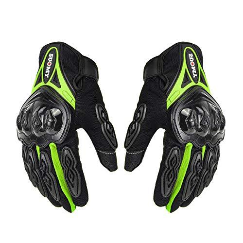 Bruce Dillon Guantes de Moto Guantes de Moto de Carreras para Hombre Guantes de Moto de Motocross Guantes Transpirables de Verano para Dedo Completo -Verde X XXL