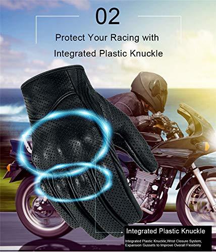 Bruce Dillon Guantes de Moto Pantalla táctil Guantes de Montar genuinos Masculinos Guantes de Moto de Carreras Guantes de Moto - XLX Perforado