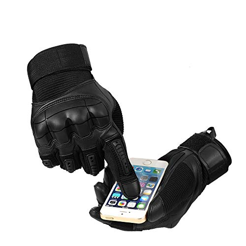 Bruce Dillon Pantalla táctil Cuero de PU Guantes de Moto Moto Motocross Moto Ciclismo Nudillo Duro Equipo de protección Guante de Dedo Completo Hombres - Dedo Completo Negro XMX