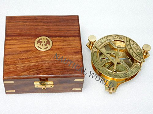 Brújula solar marítima de 7,6 cm, antigua, náutica, de bronce