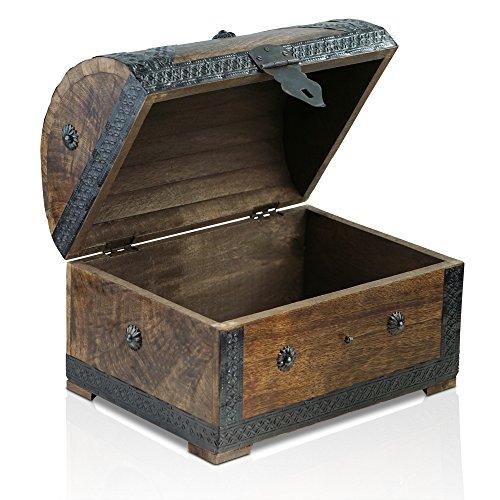 Brynnberg - Caja de Madera Cofre del Tesoro Pirata de Estilo Vintage, Hecha a Mano, Diseño Retro 28x20x20cm