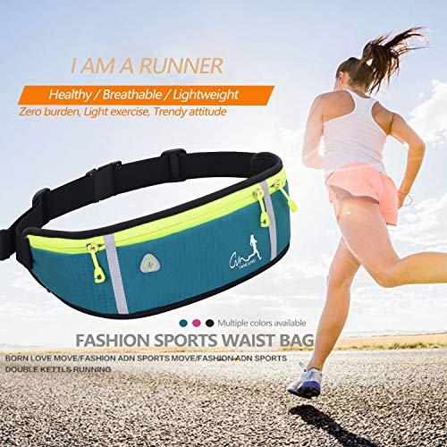 BRZSACR Running Belt Bumbag Fanny Pack Waterproof Flip Belt Adjustable Fitness Waist Bum Pouch Bag Compatible with iPhone Series Samsung S/Note Phone,for Men Women Outdoor Gym Sports Travel (Azul)