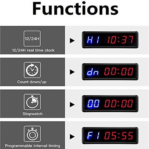 BTBSIGN - Cronómetro LED con control remoto para gimnasio en casa (dos azul+cuatro rojos)