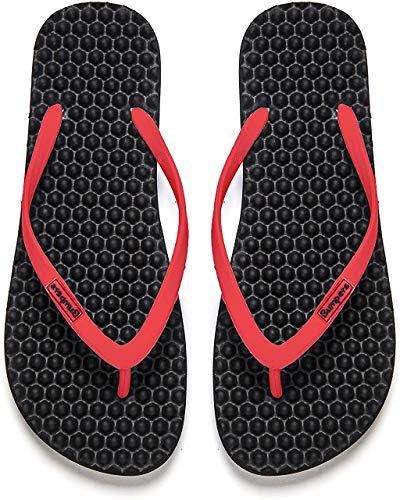Bumpers Sandalias de Masaje de acupresión para Mujer - Chanclas de reflexología con un cómodo diseño de Plantilla y Suela con Agarre Firme (41-42, Negro y Rojo)