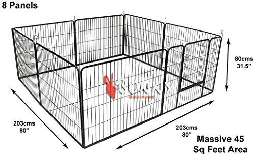 BUNNY BUSINESS Resistente Cachorro Play bolígrafo/Conejo almacenaje 8Paneles, tamaño Grande, Color Gris