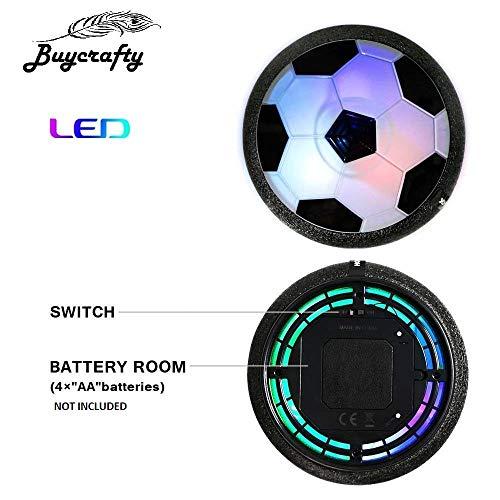 Buycrafty Kids Toys Air Power Soccer Ball Football Disk with LED Light Foam Bumper