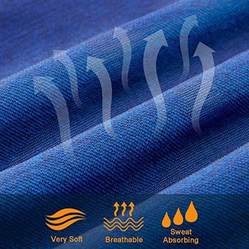 Bwiv Camiseta Hombre Deportiva Compresión Camiseta Interior Hombre Manga Larga Fitness Gimnasio Aire Libre para Entrenamiento Ciclismo de Azul y Línea Amarillo Talla M