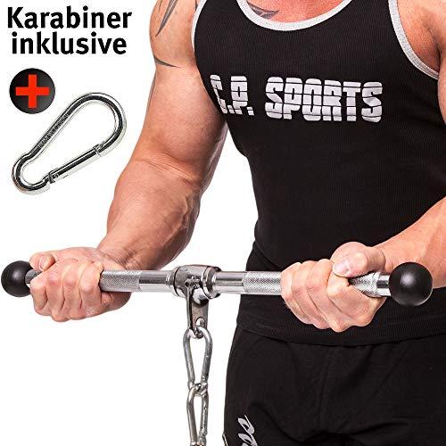 C. P. Sports 38797 - Barra de Ejercicio (para bíceps y tríceps, asa Recta, Talla única), Color Cromo