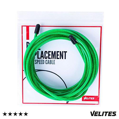 Cable de Repuesto para comba de Saltar de Crossfit, Fitness y Boxeo Ideal para Saltos Dobles | PVC Verde y Acero de 4 mm para Vrope Earth by VELITES