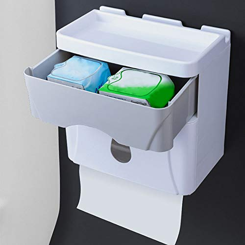 Caja de pañuelos impermeable Bomba multifunción Caja de papel Perforador libre Montado en la pared Cajón grande Mesa de ubicación de salida
