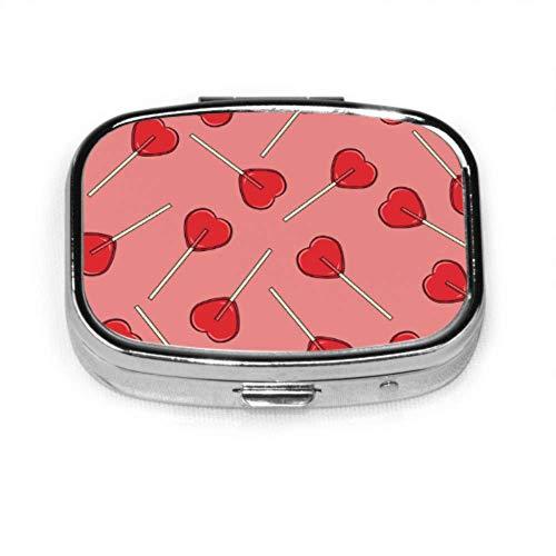 Caja de pastillas Caramelos de piruleta roja Estuche de pastillas lindo Pastilla diaria Portátil para monedero de bolsillo Maletín Caja de pastillas de viaje