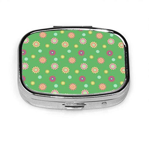 Caja de pastillas Flores de colores Papel Caja de pastillas linda Píldora diaria Portátil para monedero de bolsillo Maletín Caja de pastillas de viaje